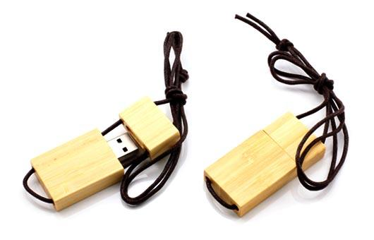 Lanyard Bamboo USB Flash Drive 256GB With Logo Printed , USB 3.0