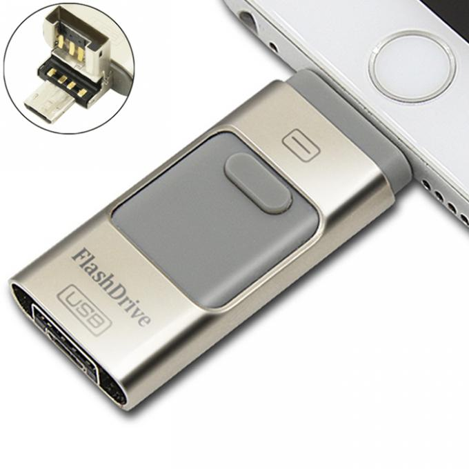 Android Phone USB Swivel Flash Drive Small Grey Multi - Function