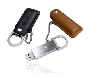 China Brown Leather USB Stick / Usb Flash Drive Leather Long Data Retention factory