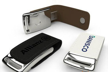 China Black Or Brown Leather USB Stick 2GB 4GB 8GB Customized CE ROHS Approved factory