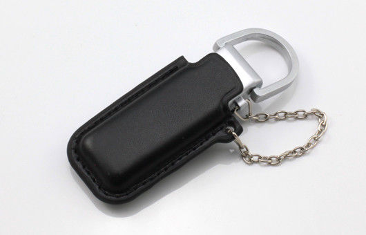 Black Pny Leather USB Flash Drive 128GB Embossed With Keyring