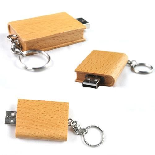 Keychain Wood USB Flash Drive High Speed USB 2.0 with 128MB - 64GB