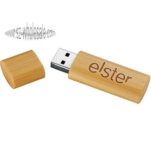 Secure Bamboo USB Flash Drive 32GB Large Capacity USB 2.0 With LED Light
