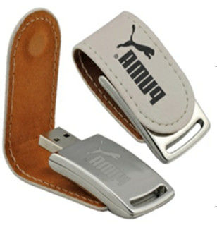 Black Or Brown Leather USB Stick 2GB 4GB 8GB Customized CE ROHS Approved