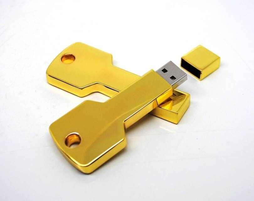 Golden Metal Key Usb 2.0 Flash Drive 3 Year Warranty Color Customized