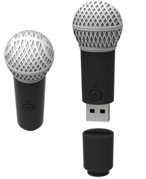 Cute PVC Microphone Usb Flash Drive No Encryption Personalised 256MB To 128GB