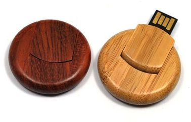 China Round 8GB Bamboo Secure USB Drive USB 3.0 External Hard Drive distributor